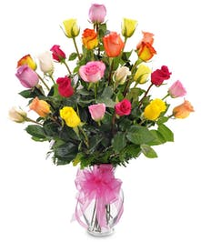Send these beautiful multi colored roses today! Our best and brightest selection of long stemmed roses come beautiful arranged in a vase.