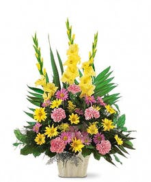 A Funeral Basket in pink & yellow
