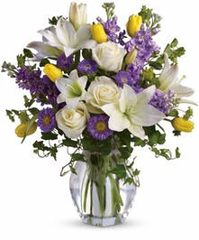 Spring Rose, White Lilies - Trumbull & Bridgeport (CT) City Line Florist