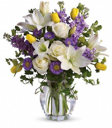 Spring Rose, White Lilies - Trumbull & Bridgeport (CT) City Line Florist
