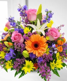 A colorful centerpiece bursting with all things spring!