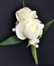 Sweetheart Spray White Roses Boutonniere w/ Baby's Breath and Greenery