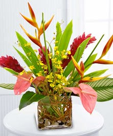 This exotic arrangement of pink ginger, anthurium and heliconia will inspire the mental vacation everyone needs.