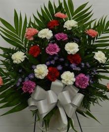 Carnation funeral basket