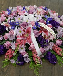 Casket Spray Pink, White & Lavender
