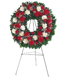 Beautiful wreath in bold red and white colors