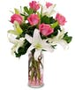 as shown  8 roses + 3 stems Lilies