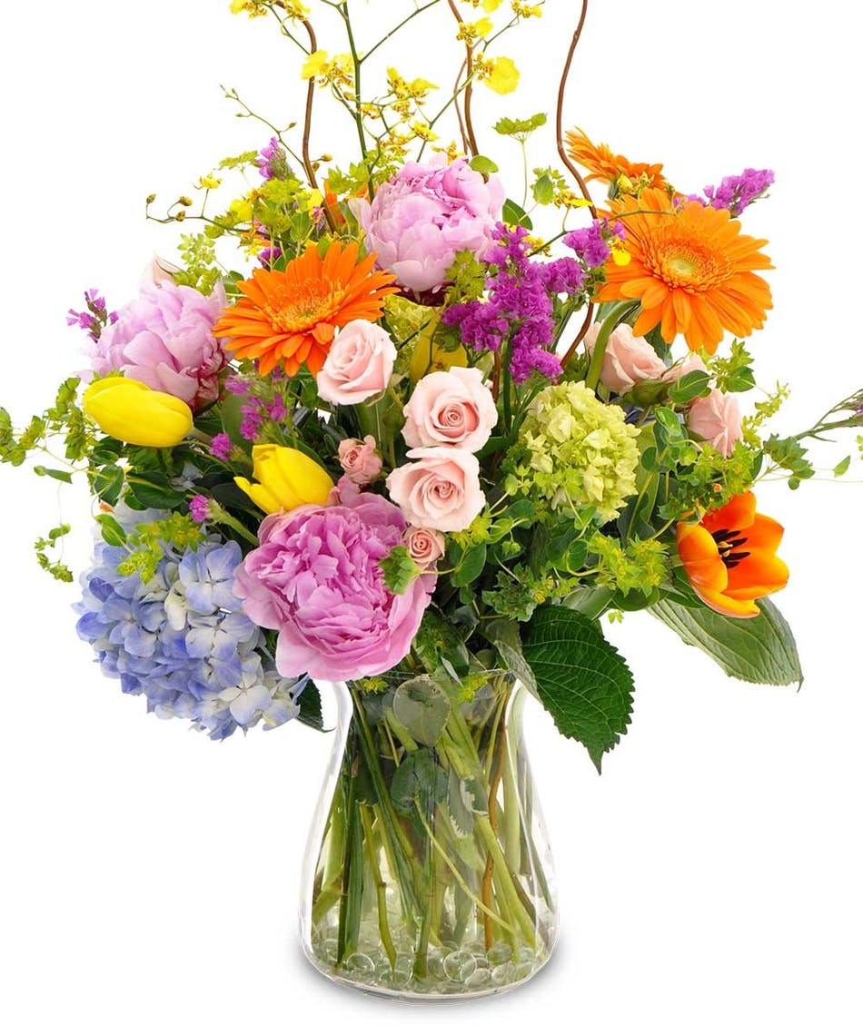 gerbera daisies, peonies, roses, tulips and more seem to be gathered up from the field just for you and arranged with green accents in this tall and full design.