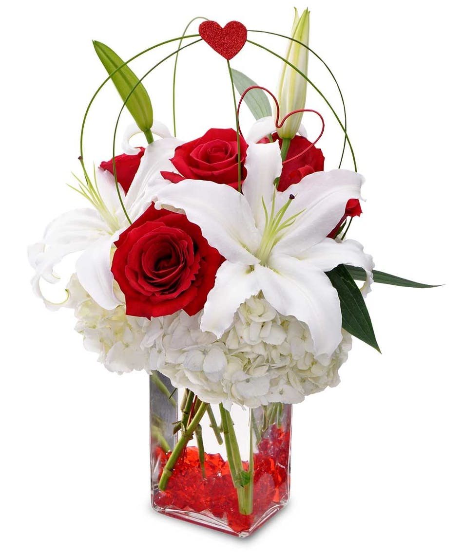 Red Hot Romance Vivid Red Roses Vibrant Large White Lilies And
