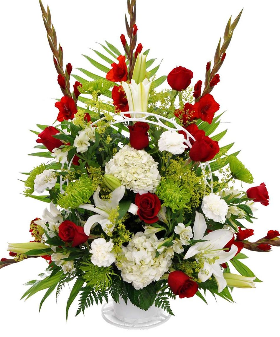 Funeral basket traditional red white green available same funeral basket traditional red white green available same day flower delivery to derby shelton ct new york city line florist trumbull ct and izmirmasajfo