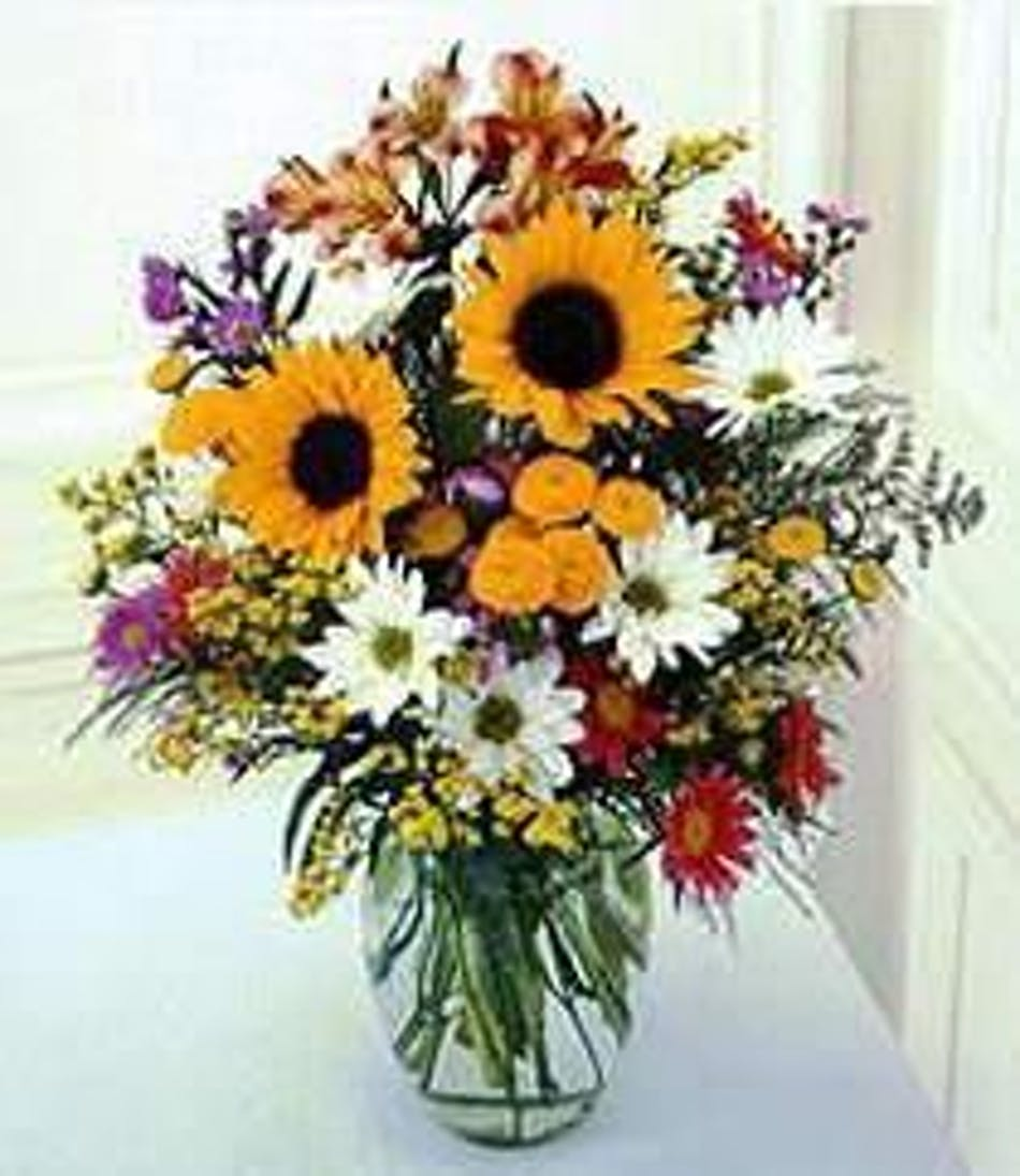 Autumn Vase Sunflowers Delphinium Assorted Filler Flowers