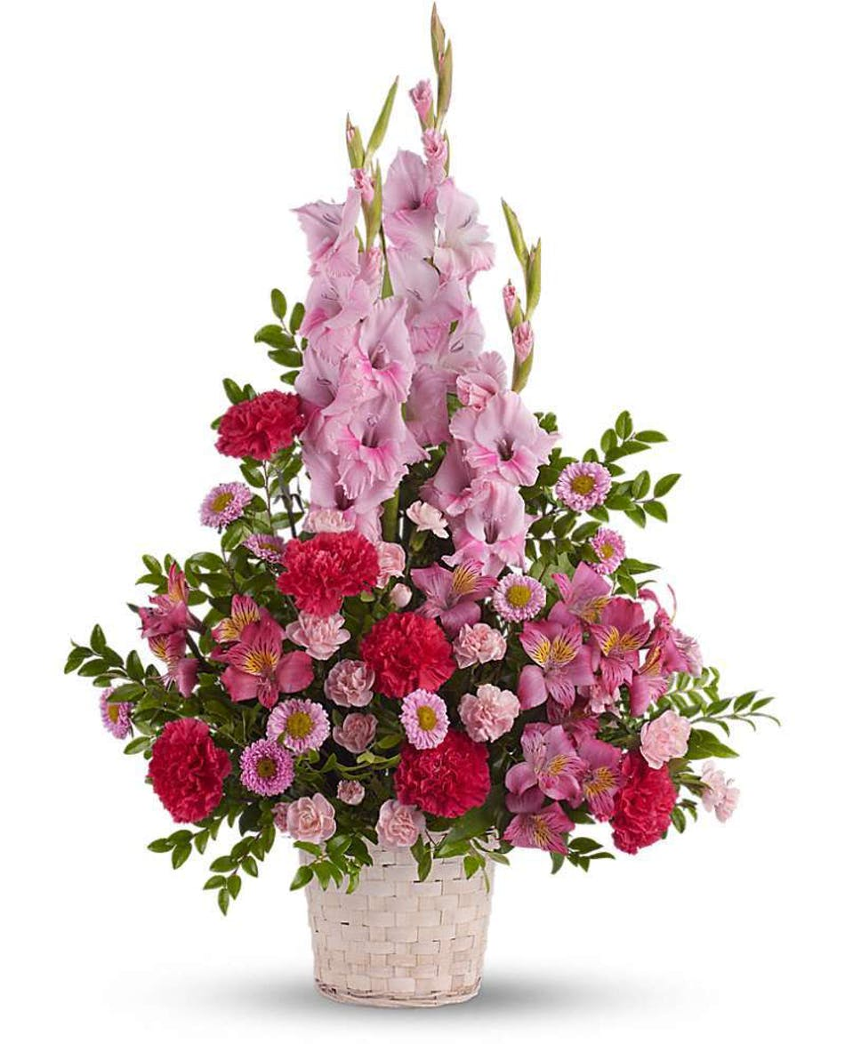 Heavenly heights bouquet custom funeral design funeral basket angelic pink blooms in a white wicker basket create a beautiful sympathy arrangement for the funeral izmirmasajfo