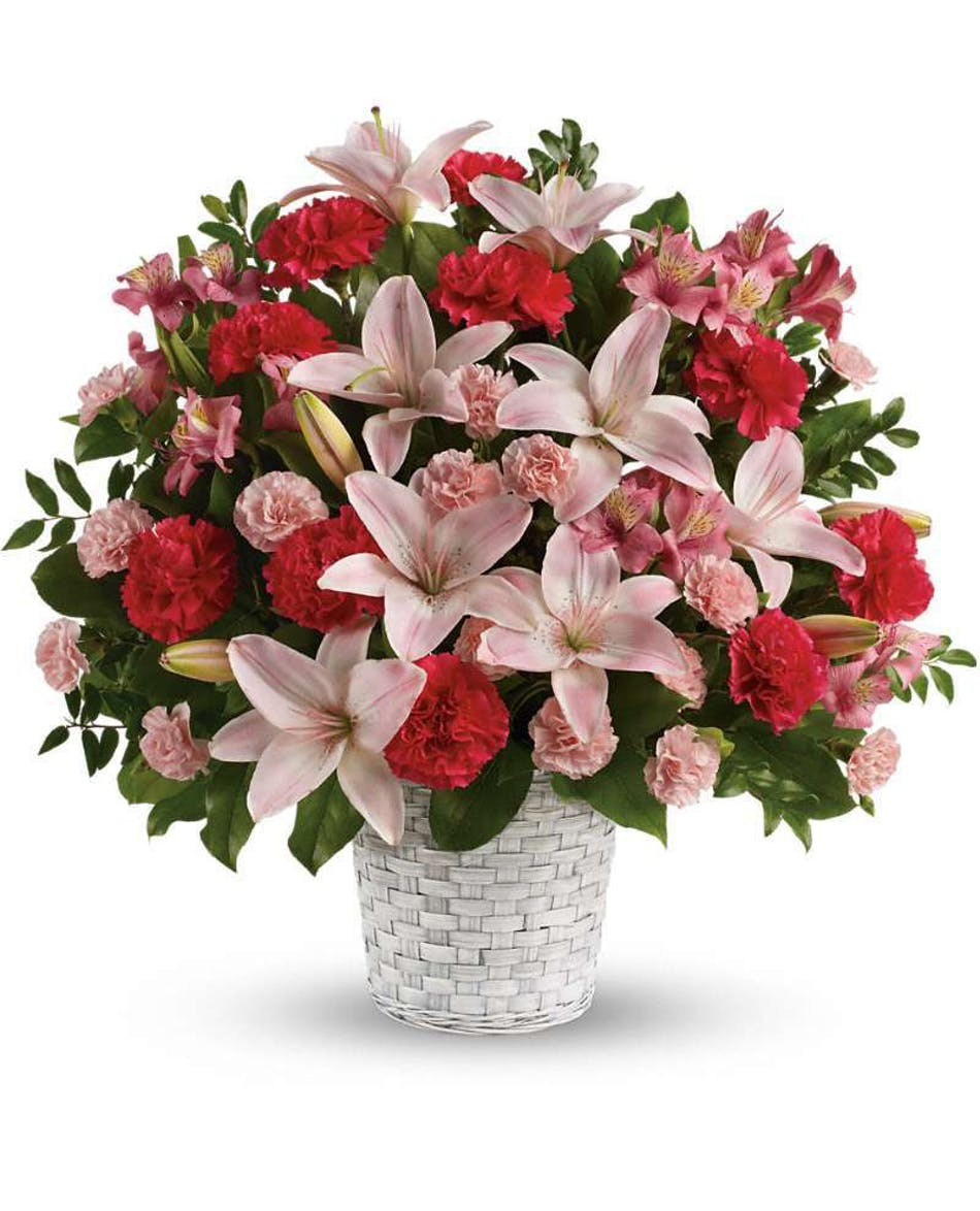 Sweet sincerity custom funeral design funeral basket funeral serenely elegant this radiant bouquet of fragrant pink lilies and other floral favorites is a izmirmasajfo