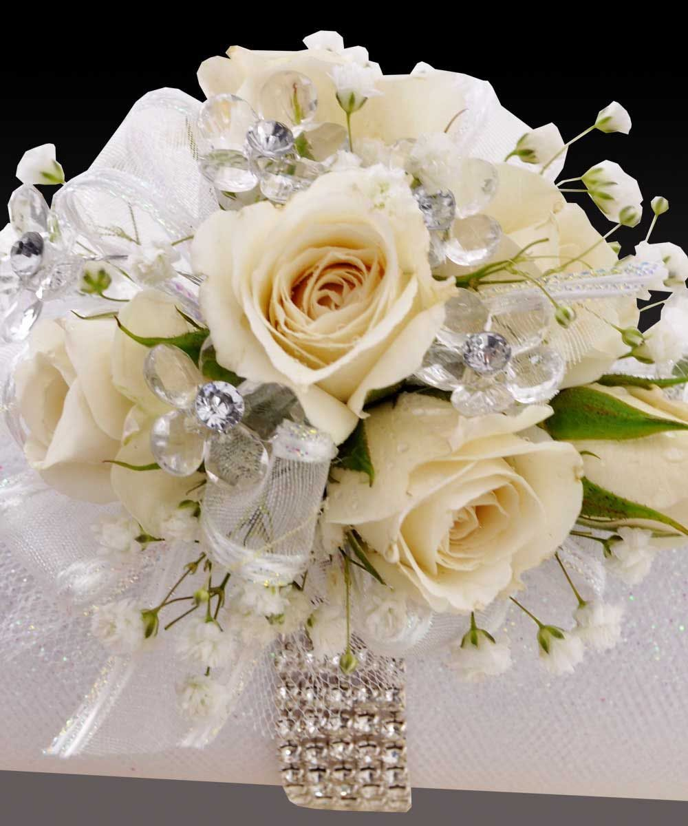 Sweetheart Spray White Roses Wristlet - Prom – Corsage ...
