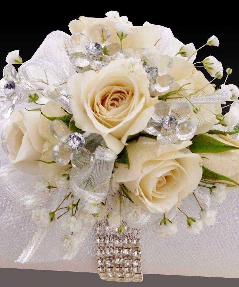 Sweetheart Spray White Roses Wristlet Prom Corsage Wristlet