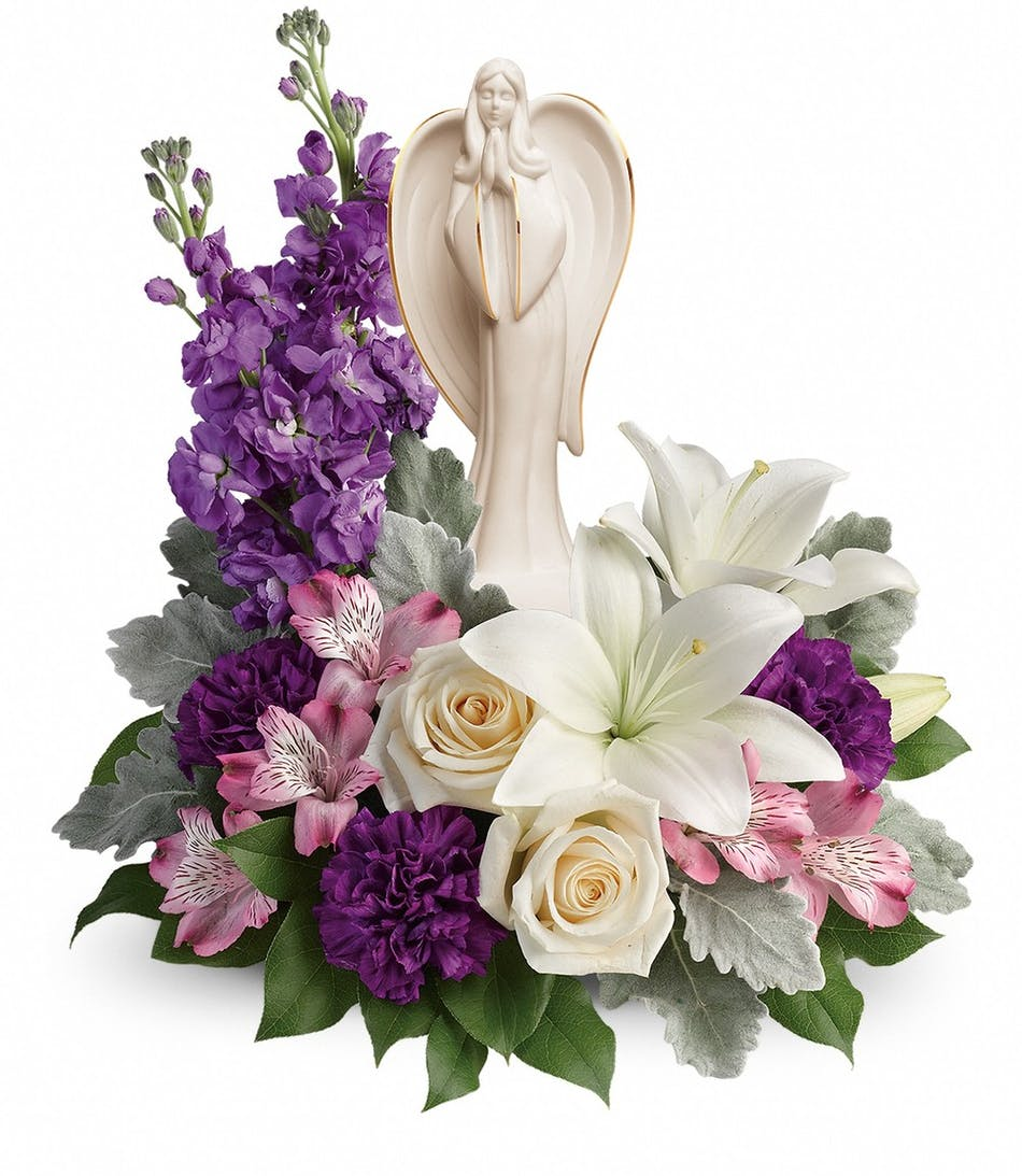 Sympathy flowers with angel bouquet same day delivery izmirmasajfo