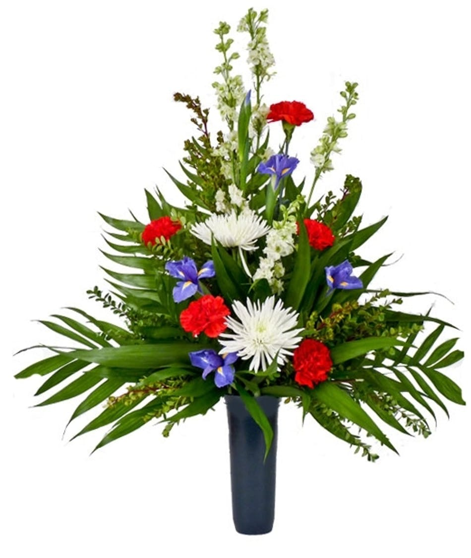 Cemetery Vase Red White Blue Available Same Day Flower