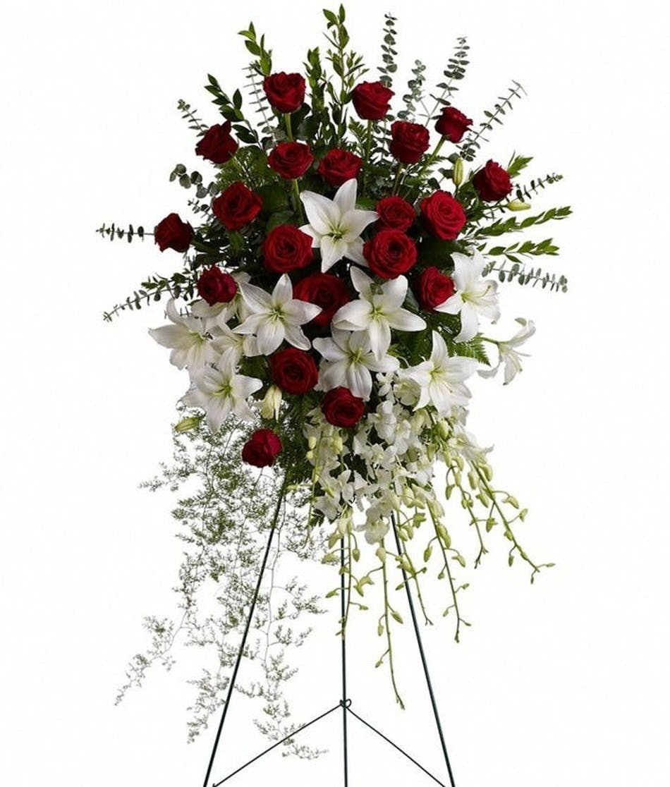 Lily And Rose Tribute Spray By Teleflora Red White Available