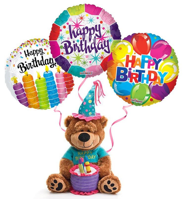 Plush Birthday Bear Balloons Trumbull Shelton CT