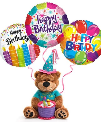 Plush Birthday Bear With Balloons