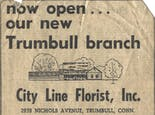 A newspaper advertisement from the 1970s announces City Line's new Trumbull location
